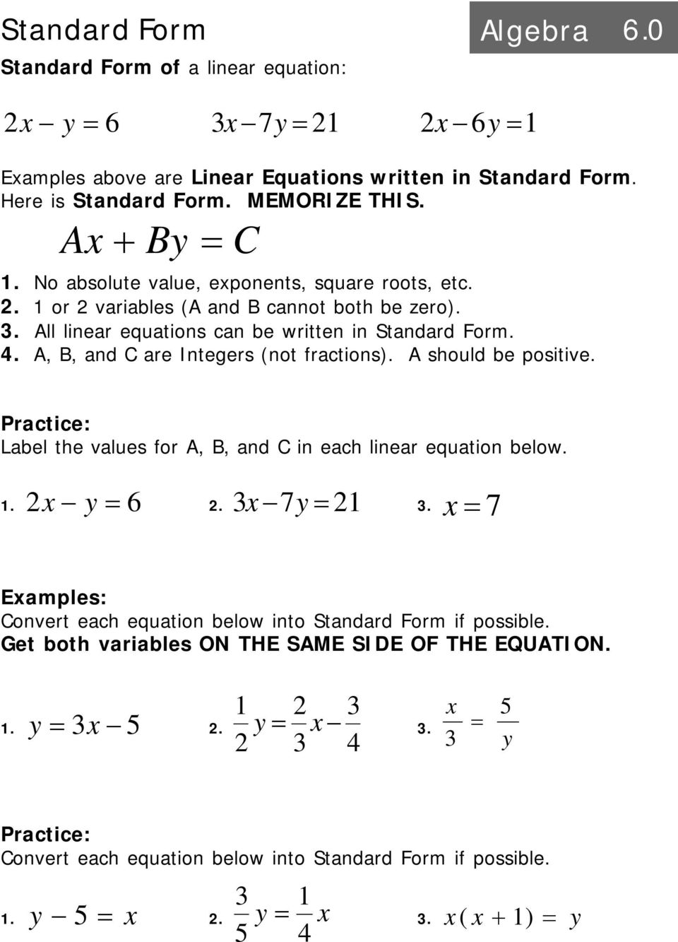 Intro To Linear Equations Algebra Pdf