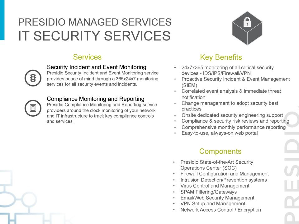 Compliance Monitoring and Reporting Presidio Compliance Monitoring and Reporting service providers around the clock monitoring of your network and IT infrastructure to track key compliance controls