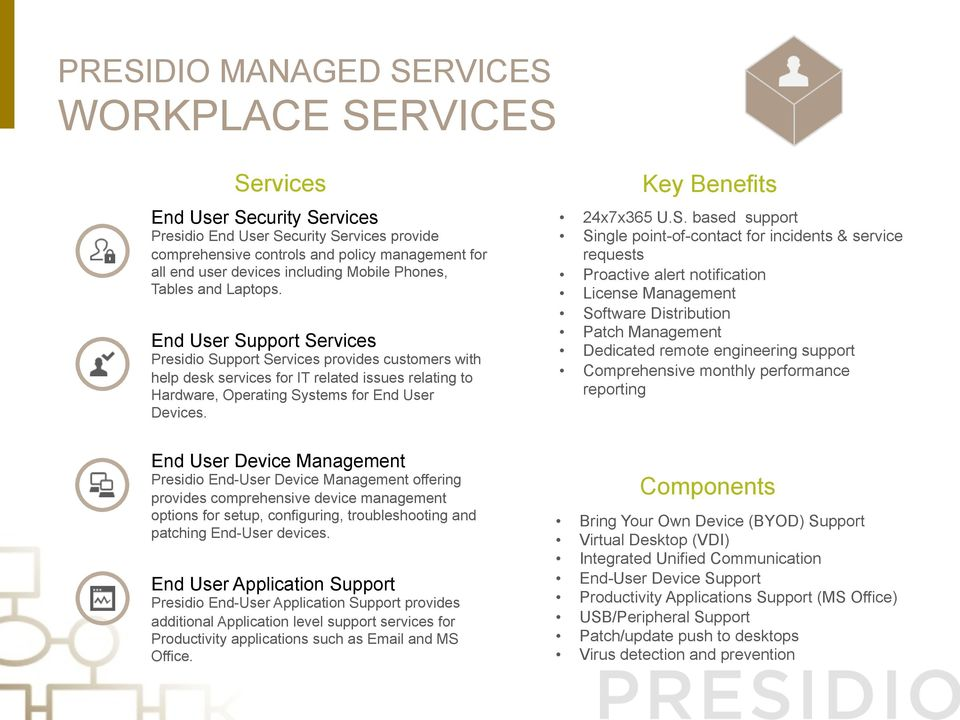 End User Device Presidio End-User Device offering provides comprehensive device management options for setup, configuring, troubleshooting and patching End-User devices.
