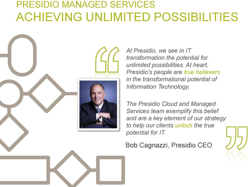 At heart, Presidio s people are true believers in the transformational potential of Information Technology.