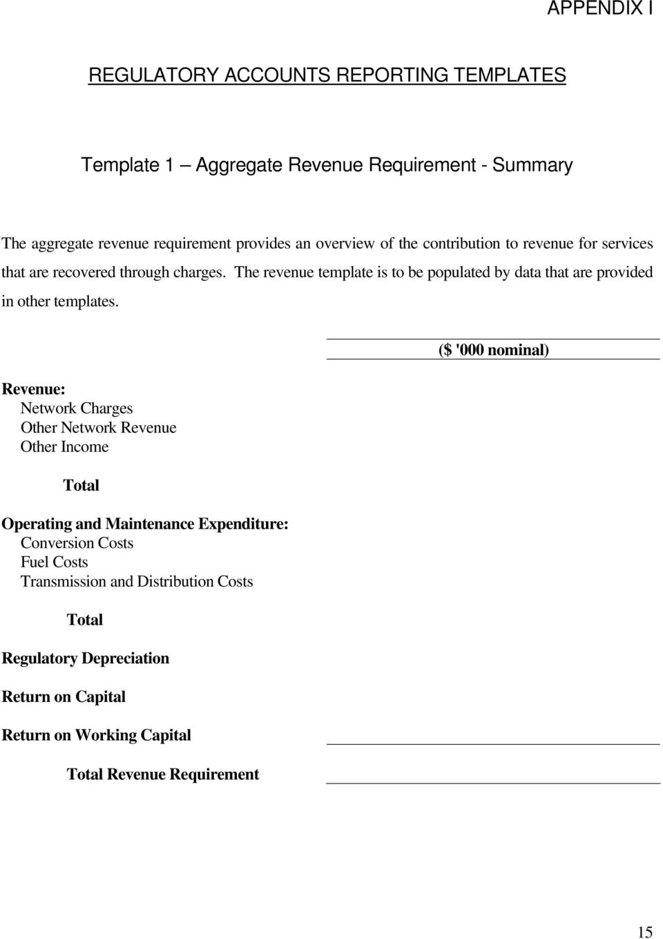 The revenue template is to be populated by data that are provided in other templates.