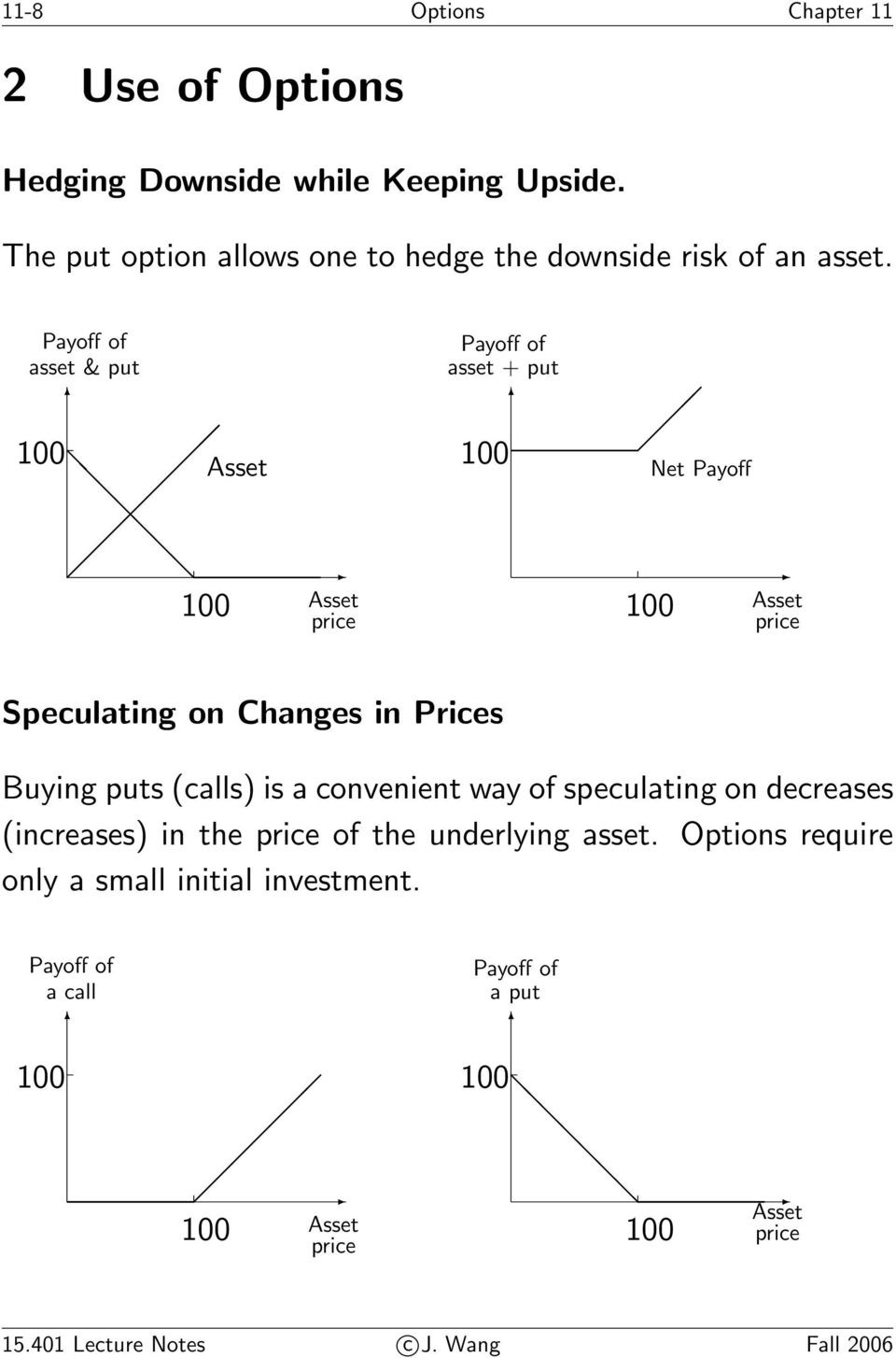 Payoff of asset & put Asset Asset price Payoff of asset + put Net Payoff Asset price Speculating on Changes in Prices Buying puts