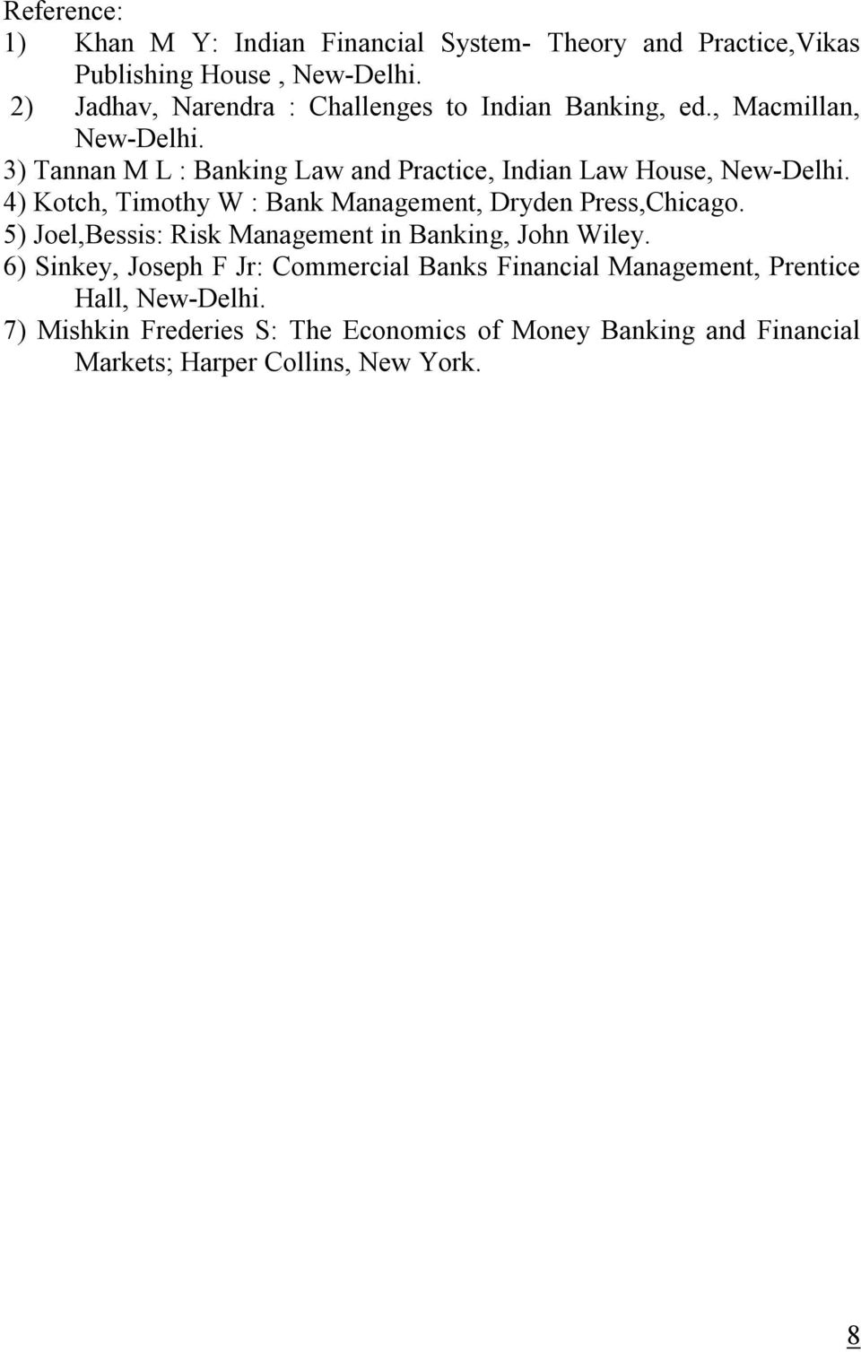3) Tannan M L : Banking Law and Practice, Indian Law House, New-Delhi. 4) Kotch, Timothy W : Bank Management, Dryden Press,Chicago.