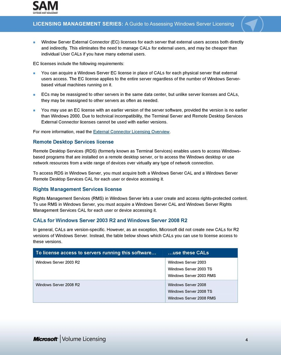 LICENSING MANAGEMENT SERIES  A Guide to Assessing Windows