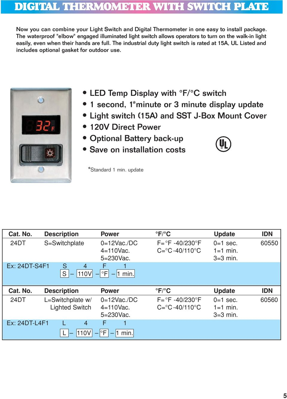 Thermometers Temperature Controllers Pressure Gauges Hvac R 4 Wire Thermometer Diagram The Industrial Duty Light Switch Is Rated At 15a Ul Listed And Includes Optional Gasket