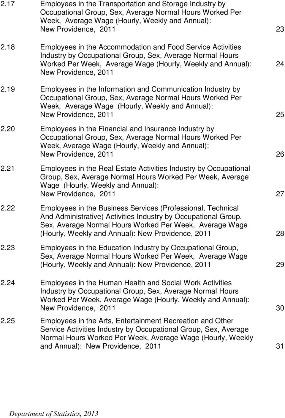 24 2.19 Employees in the Information and Communication Industry by Occupational Group, Sex, Average Normal Hours Worked Per Week, Average Wage (Hourly, Weekly and Annual): New Providence, 2011 25 2.