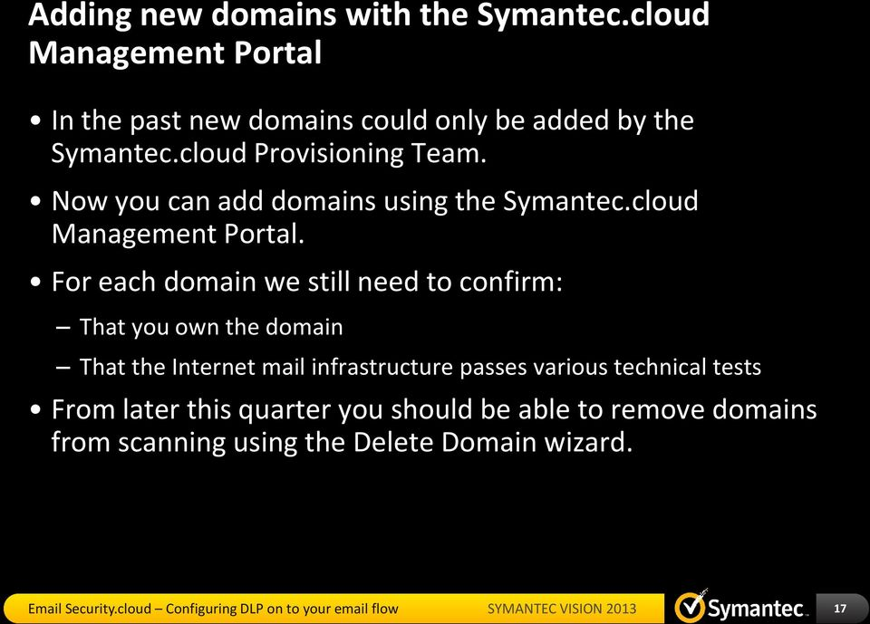 Now you can add domains using the Symantec.cloud Management Portal.