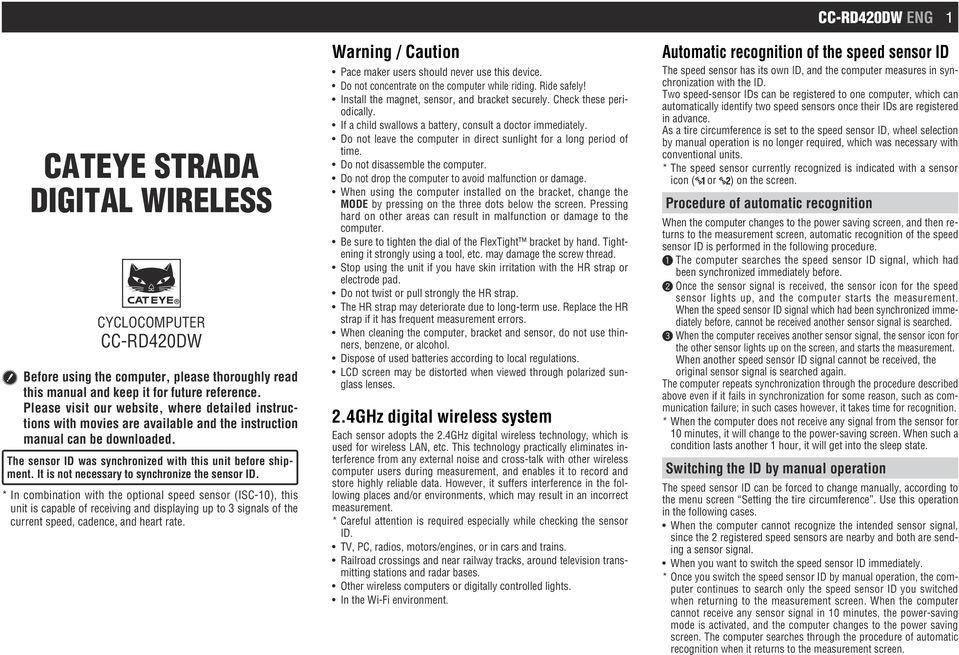 Cateye Strada Digital Wireless Pdf