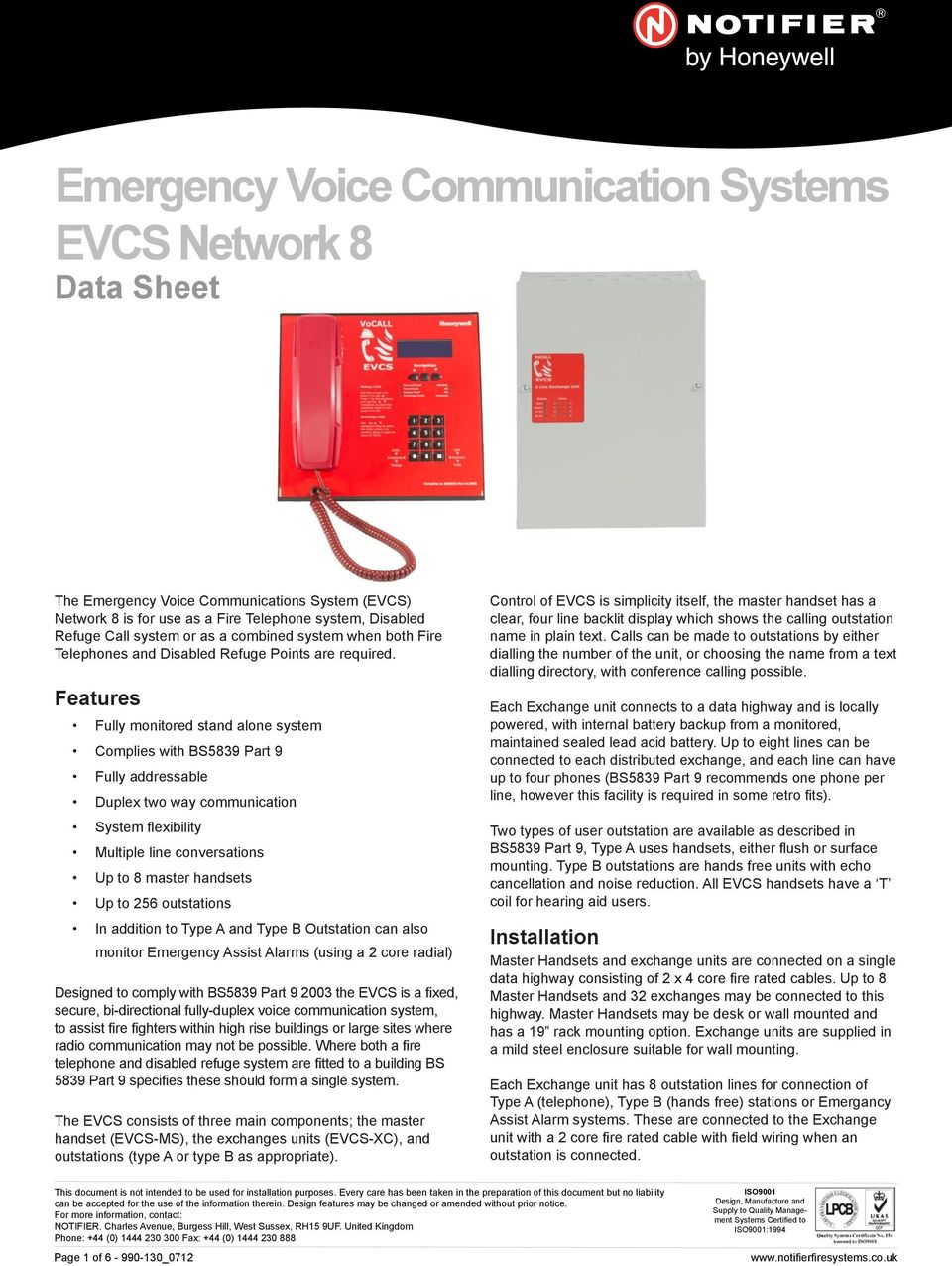 Emergency Voice Communication Systems Evcs Network 8 Data Sheet Pdf Wiring Additionally Phone Cable Diagram Besides Telephone Features Fully Monitored Stand Alone System Complies With Bs5839 Part 9 Addressable Duplex Two Way