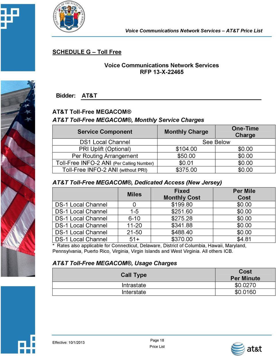 AT&T Price List  Voice Communications Network Services