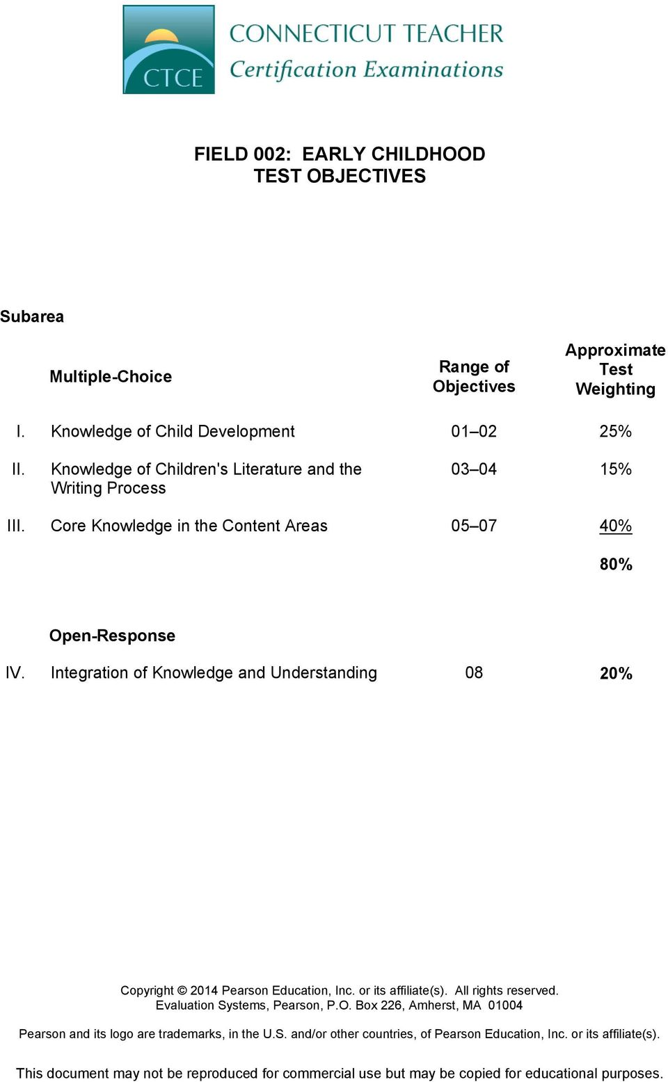 Core Knowledge in the Content Areas 05 07 40% 80% Open-Response IV.