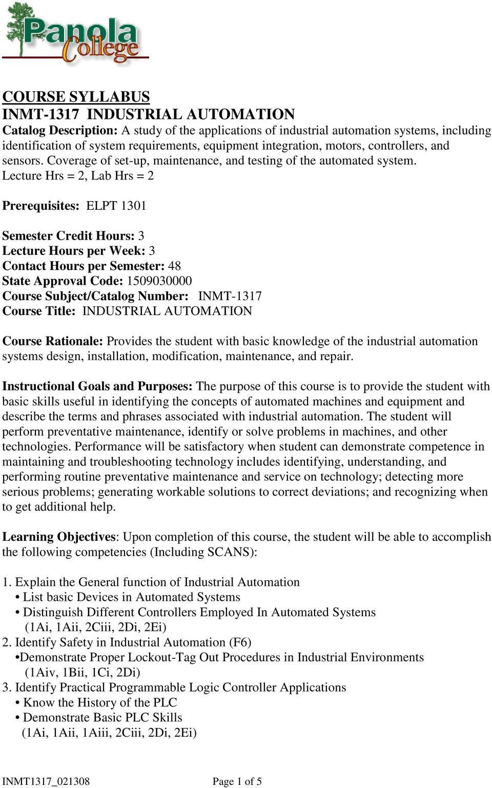 COURSE SYLLABUS INMT-1317 INDUSTRIAL AUTOMATION - PDF