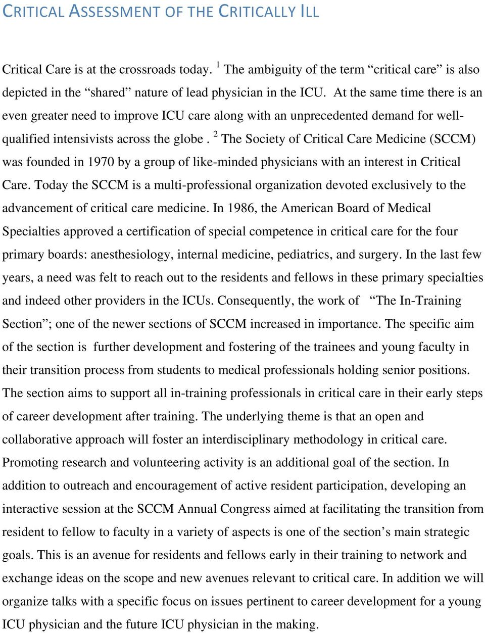 CRITICAL ASSESSMENT OF THE CRITICALLY ILL - PDF