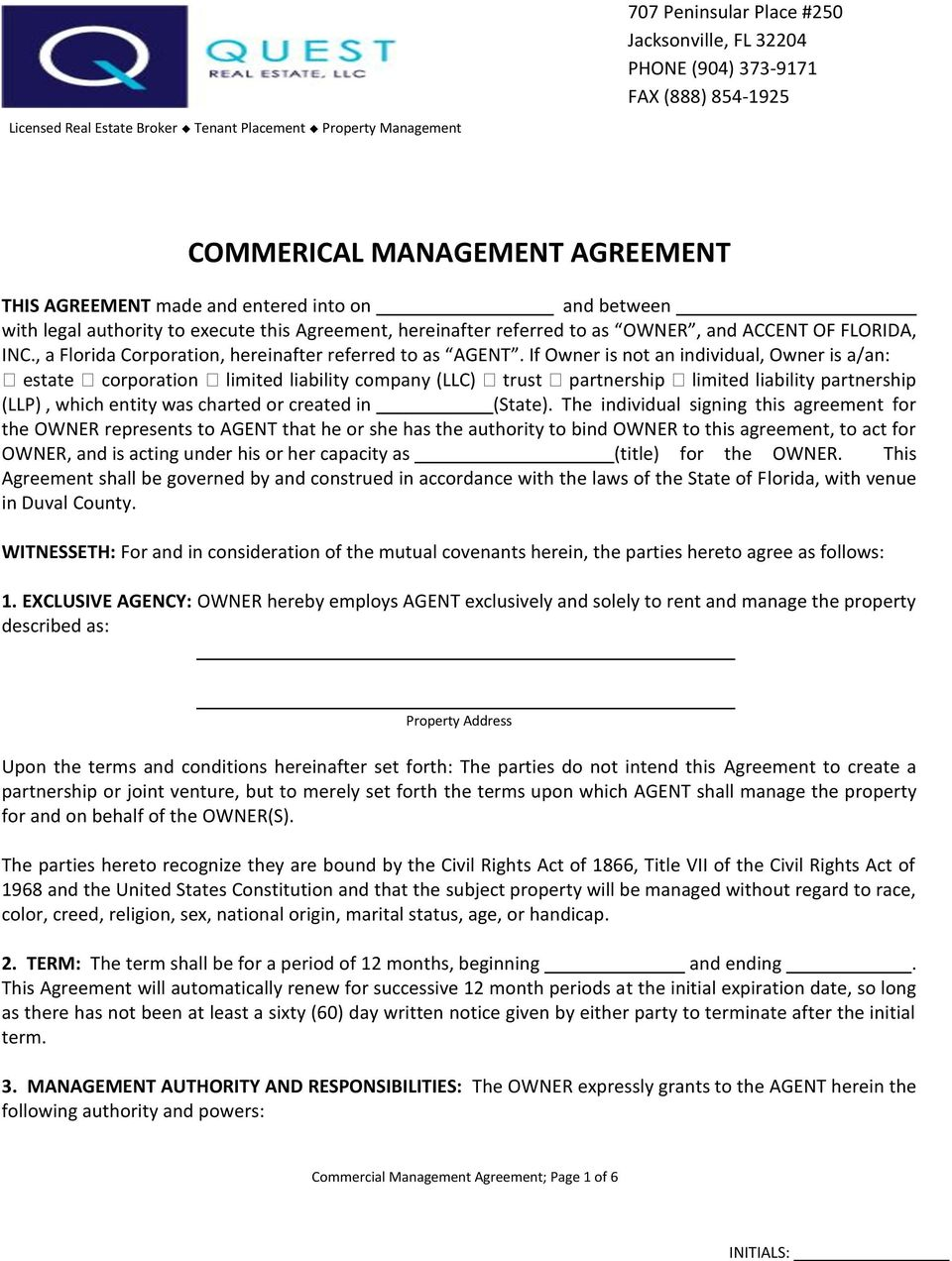 Commerical Management Agreement Pdf