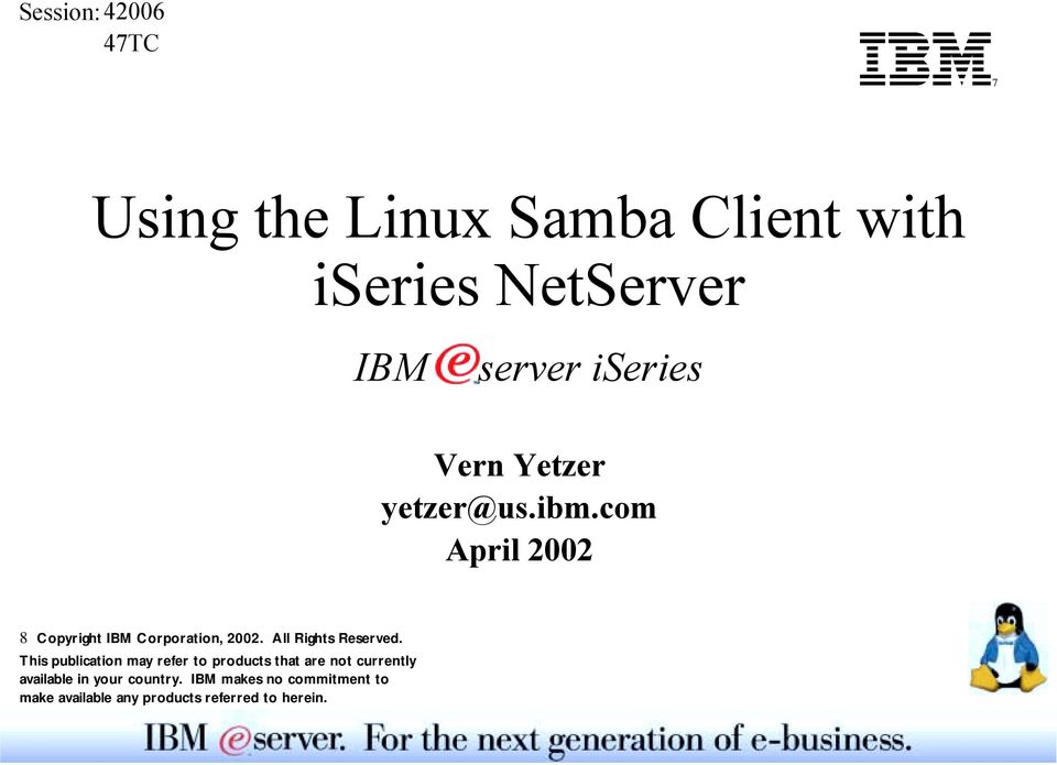 Using the Linux Samba Client with iseries NetServer - PDF