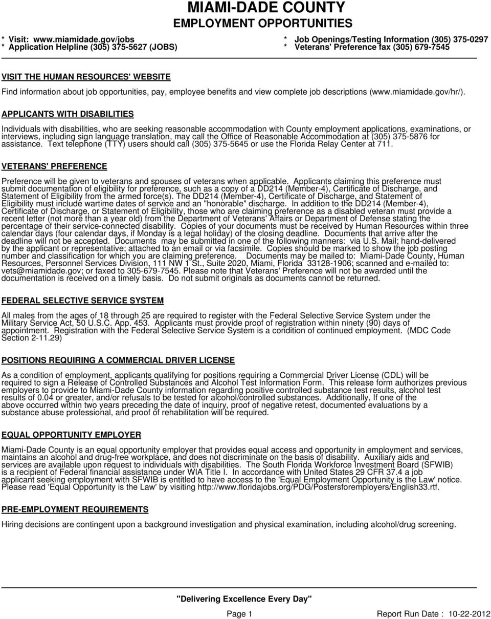 MIAMI-DADE COUNTY EMPLOYMENT OPPORTUNITIES - PDF