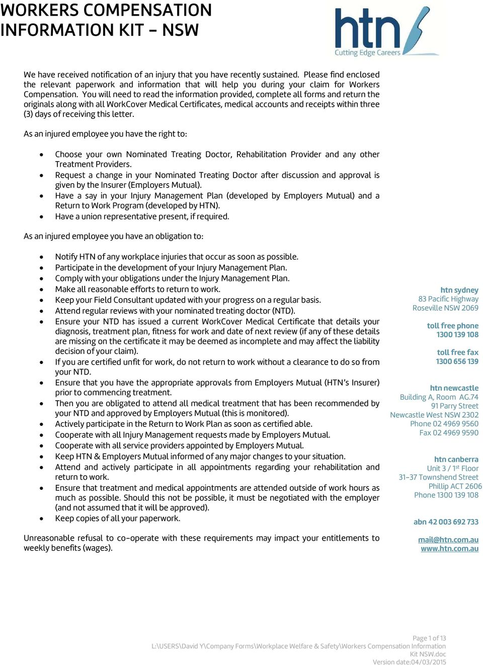 WORKERS COMPENSATION INFORMATION KIT - NSW - PDF