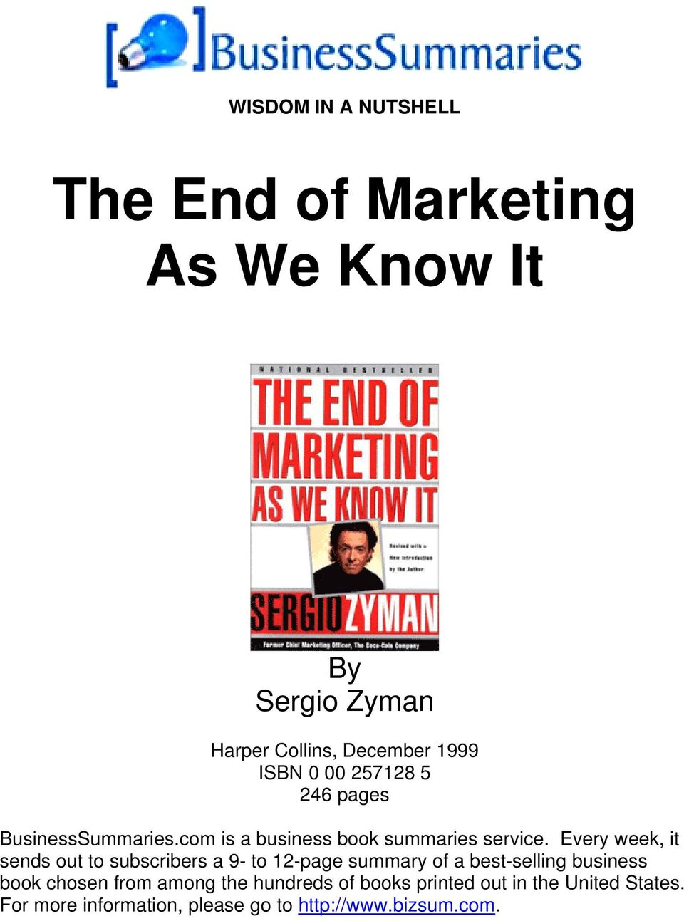 Book summary the end of marketing
