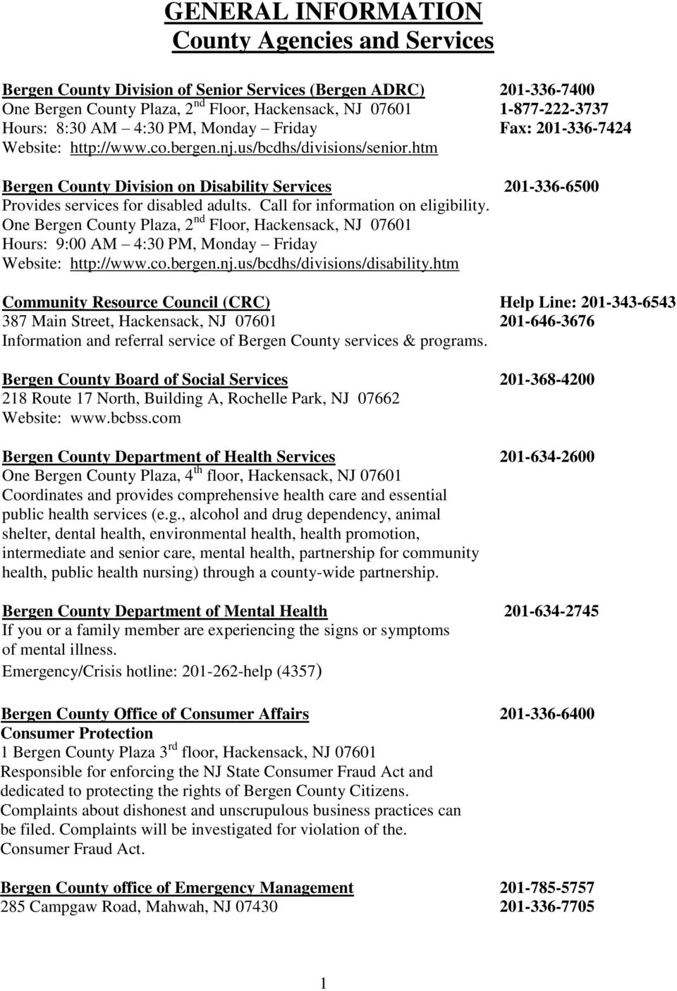 Bergen County ADRC Key Services Guide For Older Adults and