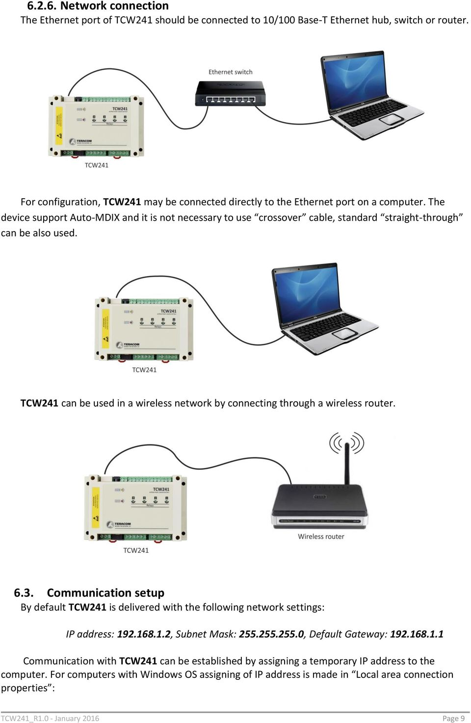 Ethernet Controller Tcw241 Pdf Intranet Network Diagram Use The Parameters Device Support Auto Mdix And It Is Not Necessary To Crossover Cable