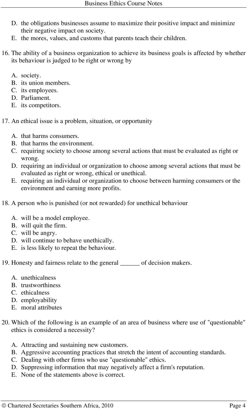 Business Ethics Course Notes  This area of study in your