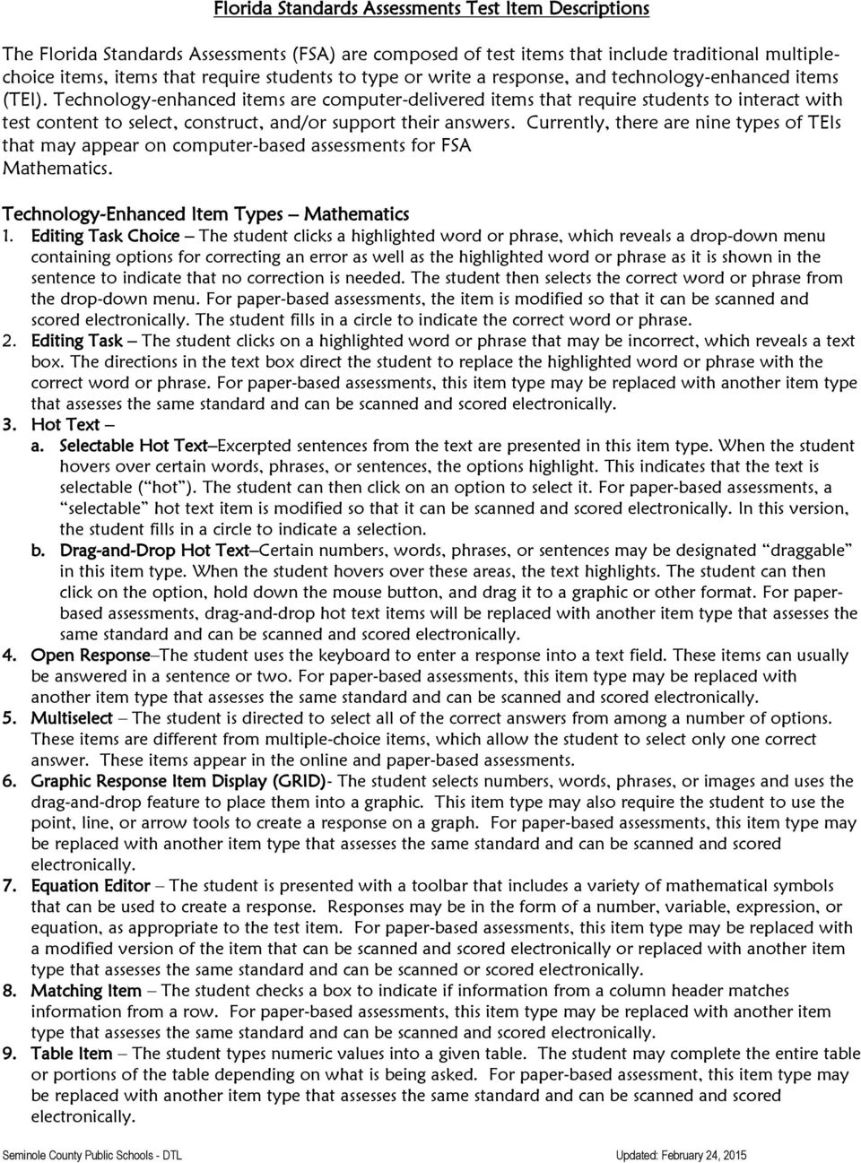 7 th grade fsa countdown pdf technology enhanced items are computer delivered items that require students to interact with test fandeluxe Gallery