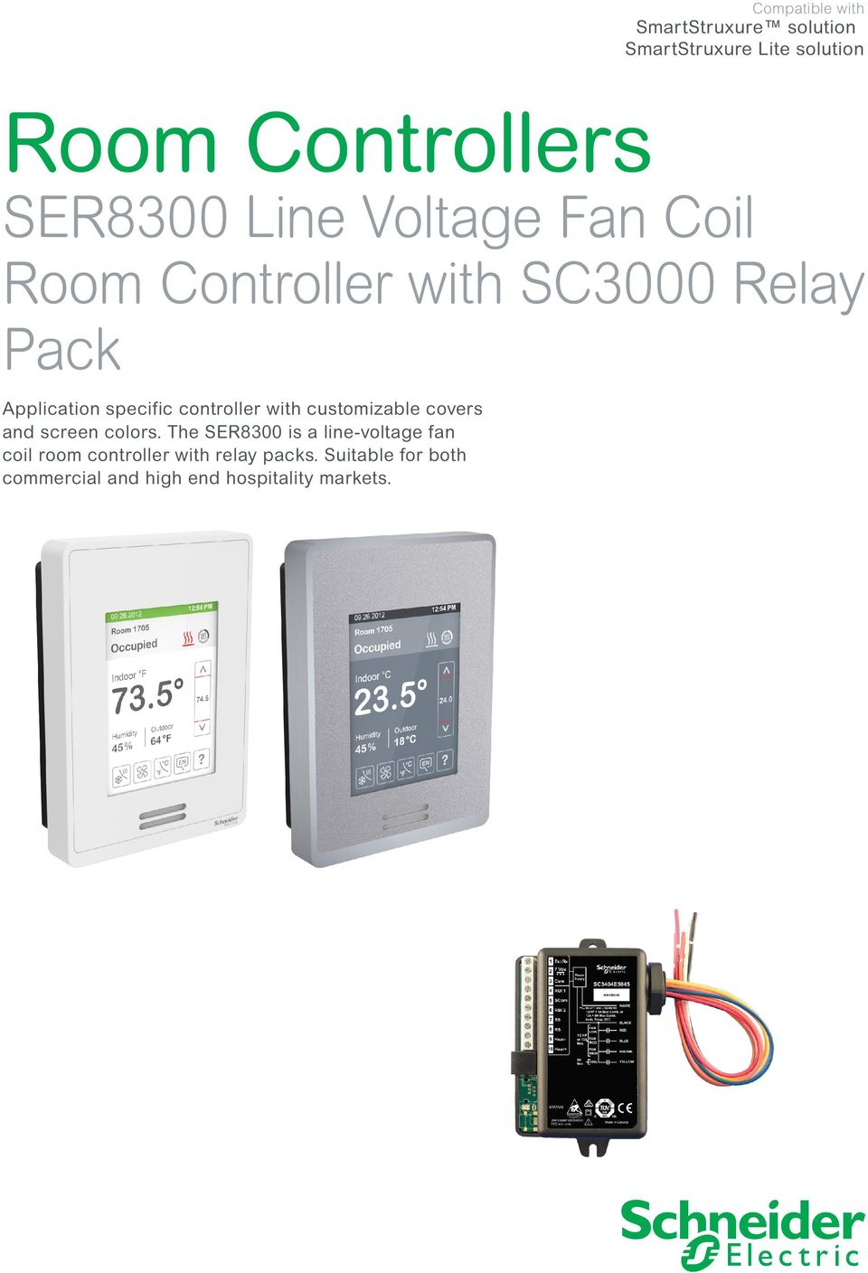 Room Controllers Ser8300 Line Voltage Fan Coil Controller With Relay Energy Saver Customizable Covers And Screen Colors