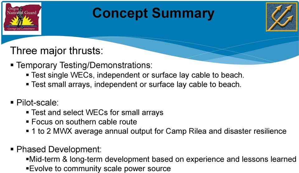 Pilot-scale: Test and select WECs for small arrays Focus on southern cable route 1 to 2 MWX average annual output for