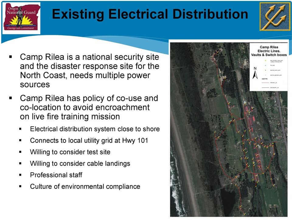 live fire training mission Electrical distribution system close to shore Connects to local utility grid at Hwy 101