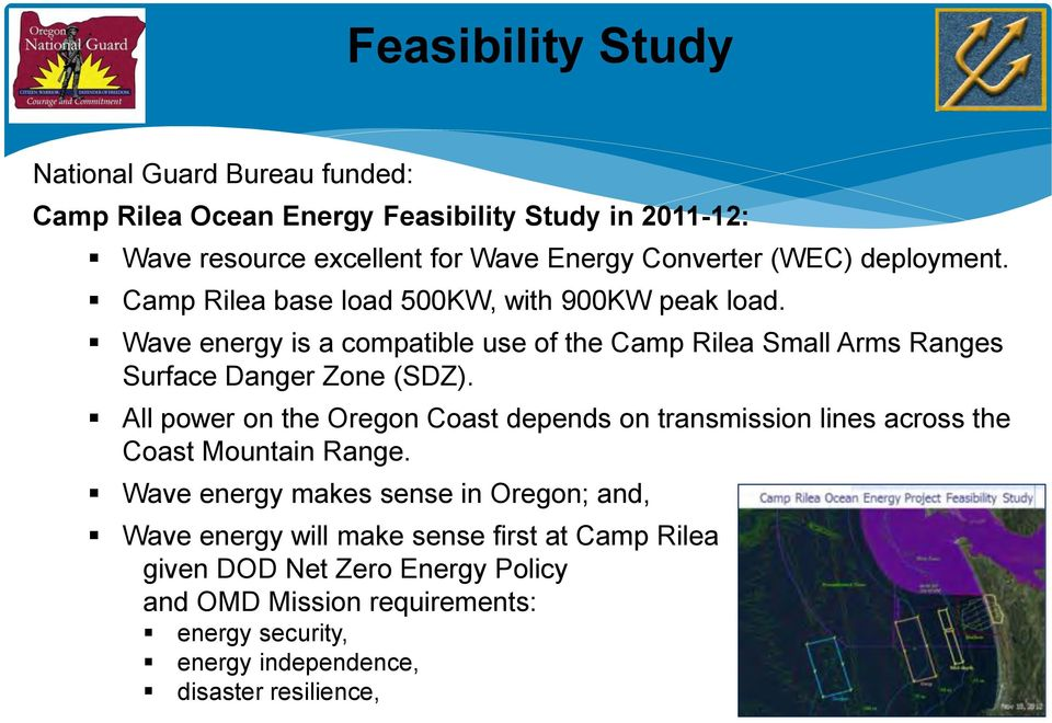 Wave energy is a compatible use of the Camp Rilea Small Arms Ranges Surface Danger Zone (SDZ).
