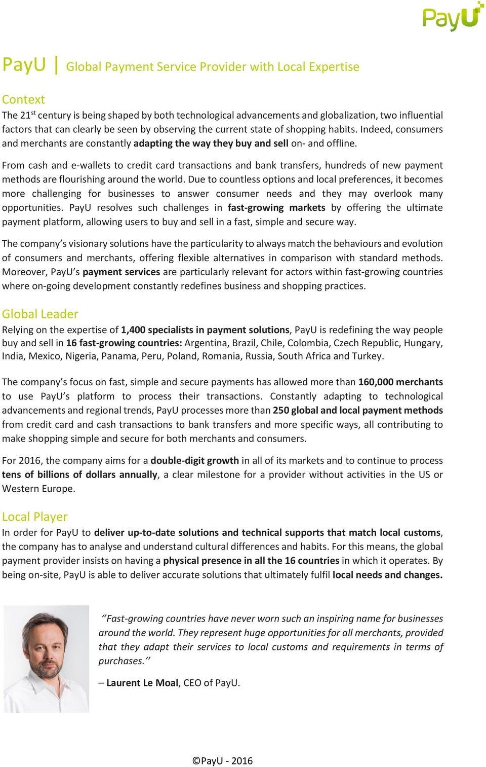 PayU Global Payment Service Provider with Local Expertise - PDF