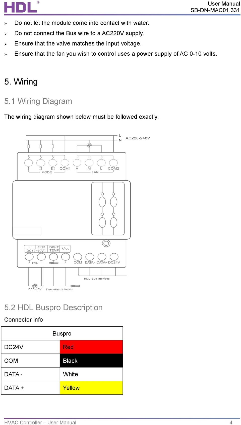 User Manual Air Conditioner Controller Sb Dn Hvac Mac01331 Pdf Dc Bus Wiring Diagrams Ensure That The Fan You Wish To Control Uses A Power Supply Of Ac 0