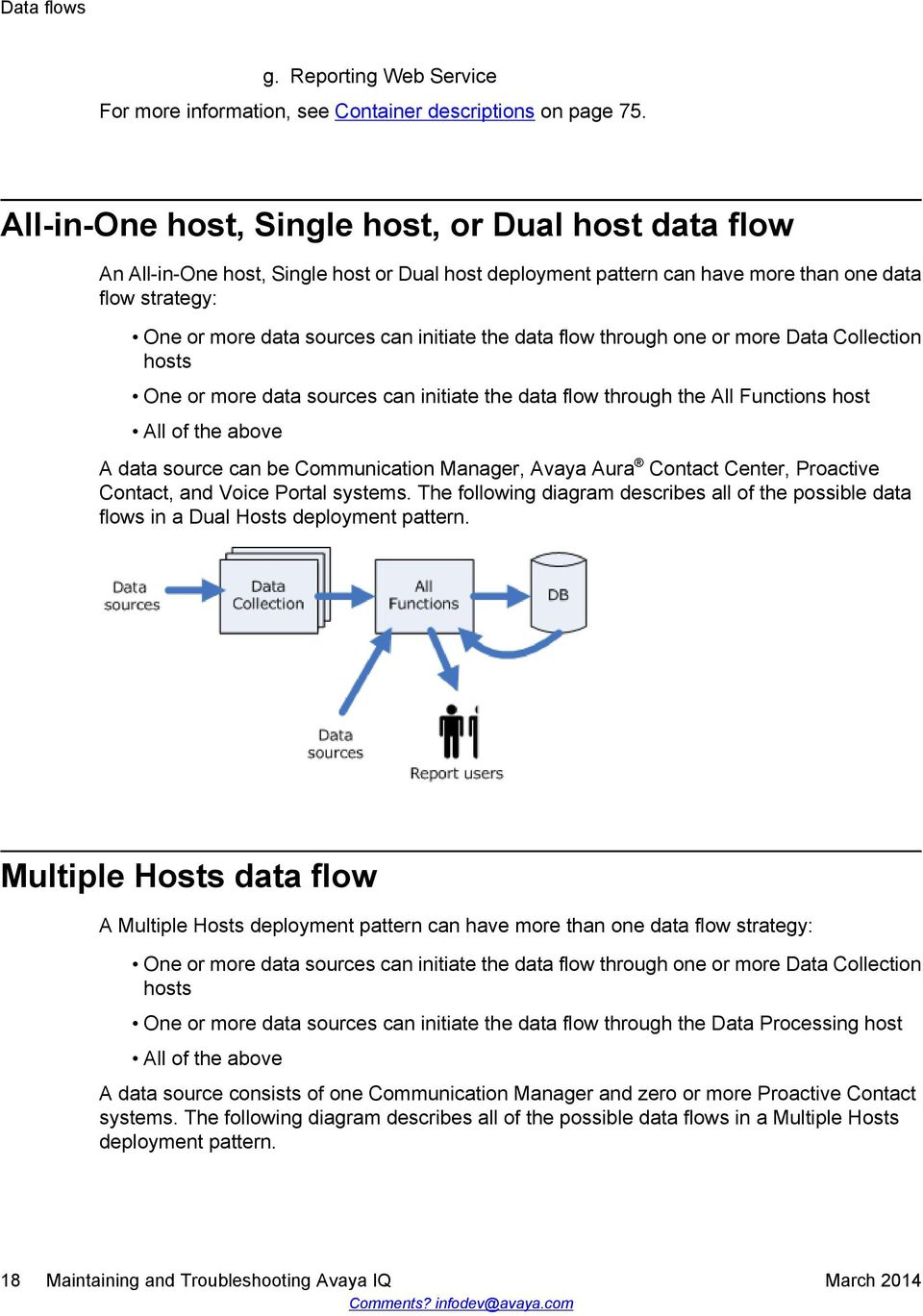 the data flow through one or more Data Collection hosts One or more data sources can initiate the data flow through the All Functions host All of the above A data source can be Communication Manager,