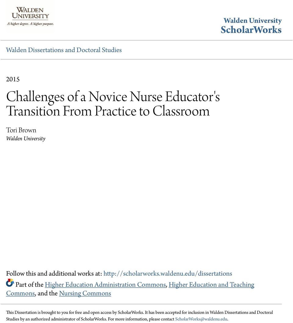 Challenges of a Novice Nurse Educator's Transition From