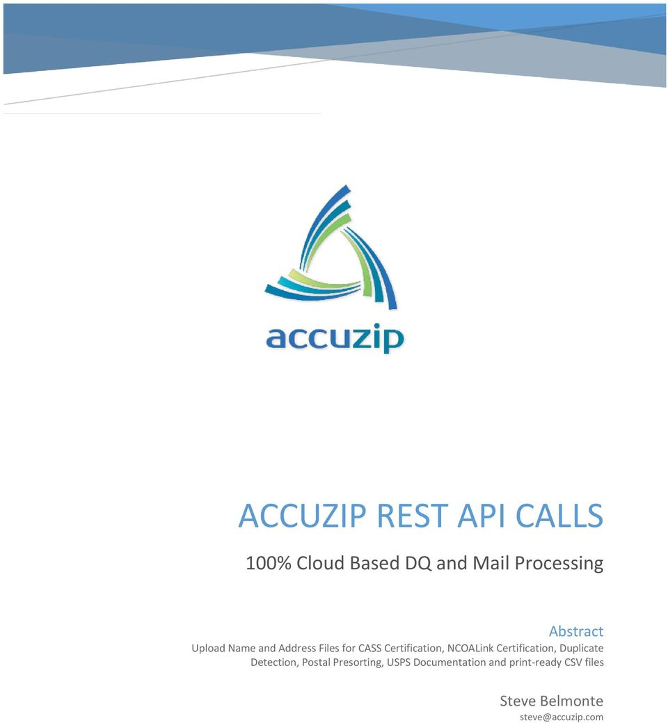 Accuzip Rest Api Calls 100 Cloud Based Dq And Mail Processing Pdf