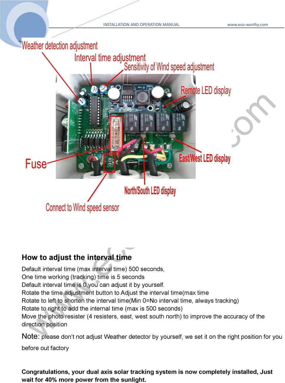 Installation And Operation Manual Pdf Led Solar Tracker Circuit Diagram Time Max Is 500 Seconds Move The Photo Resister 4 Resisters East