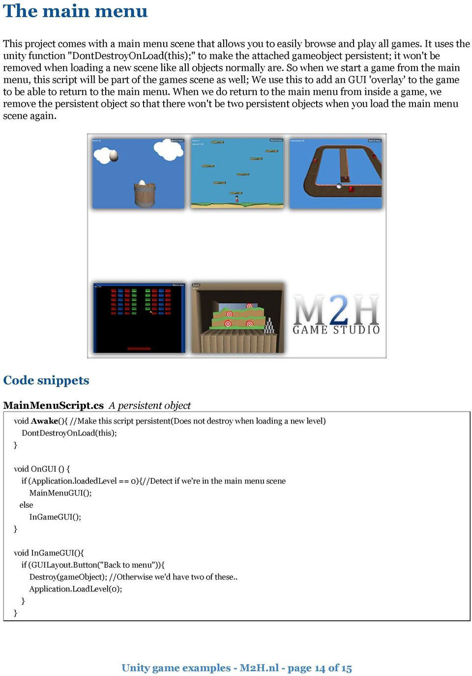 Unity game examples By Mike Hergaarden from M2H ( - PDF