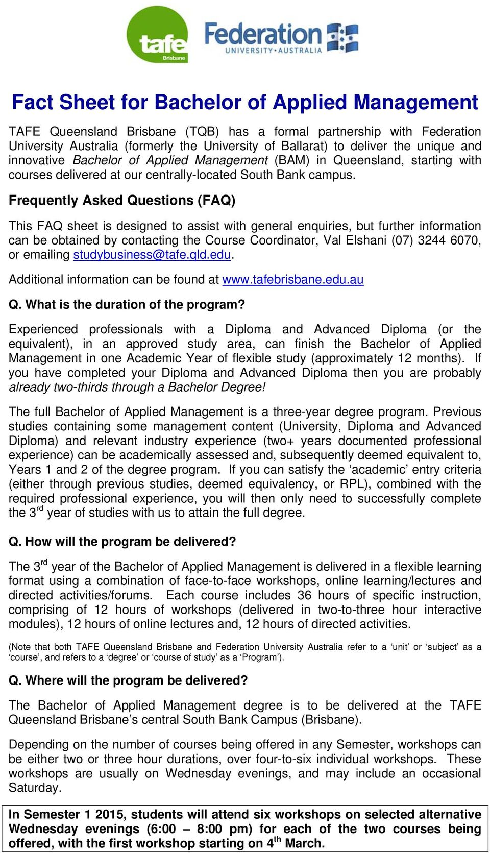 Fact Sheet for Bachelor of Applied Management - PDF