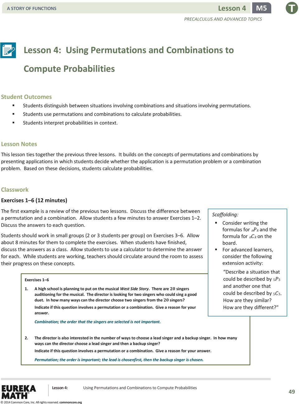 Using Permutations And Combinations To Compute Probabilities Pdf