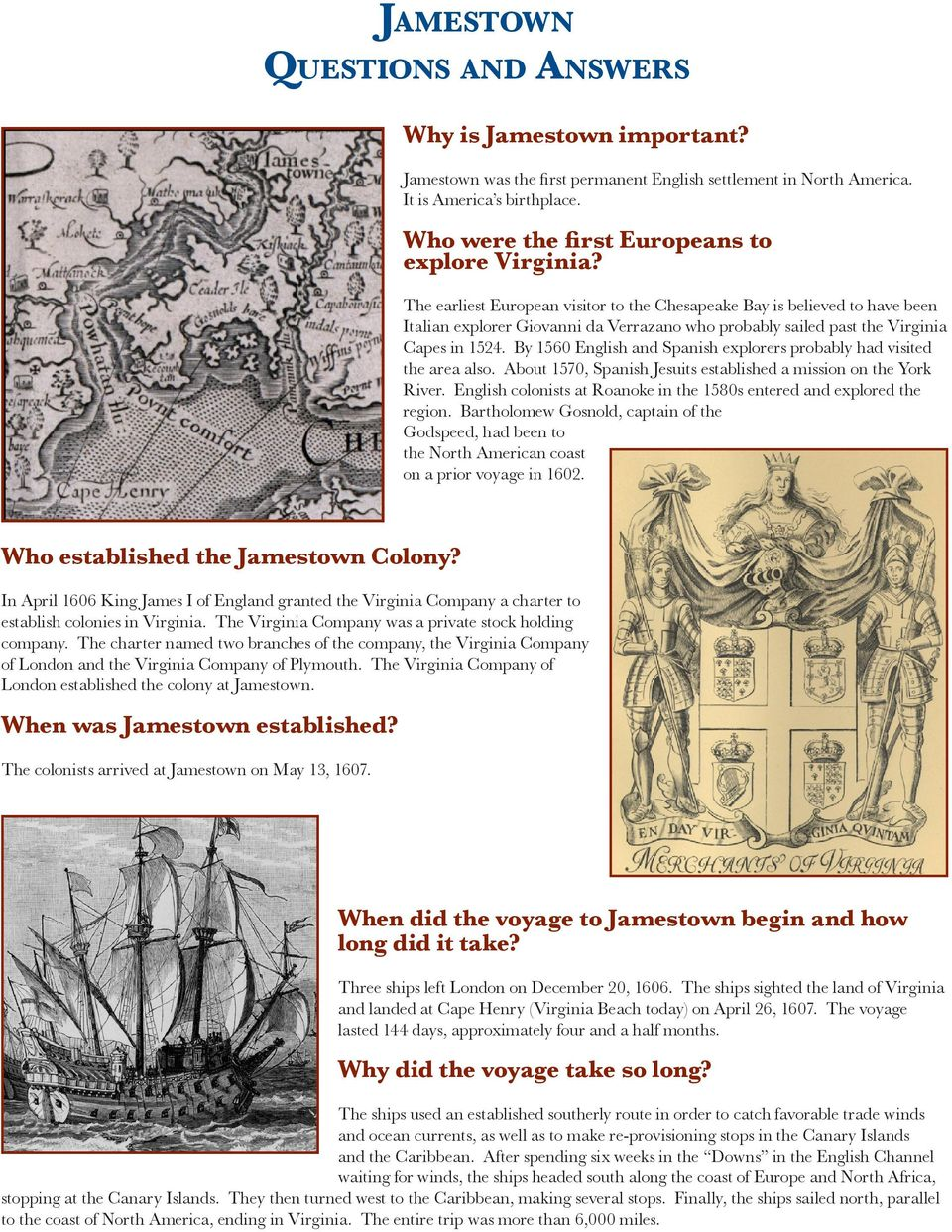 instructions for the virginia colony 1606 answers