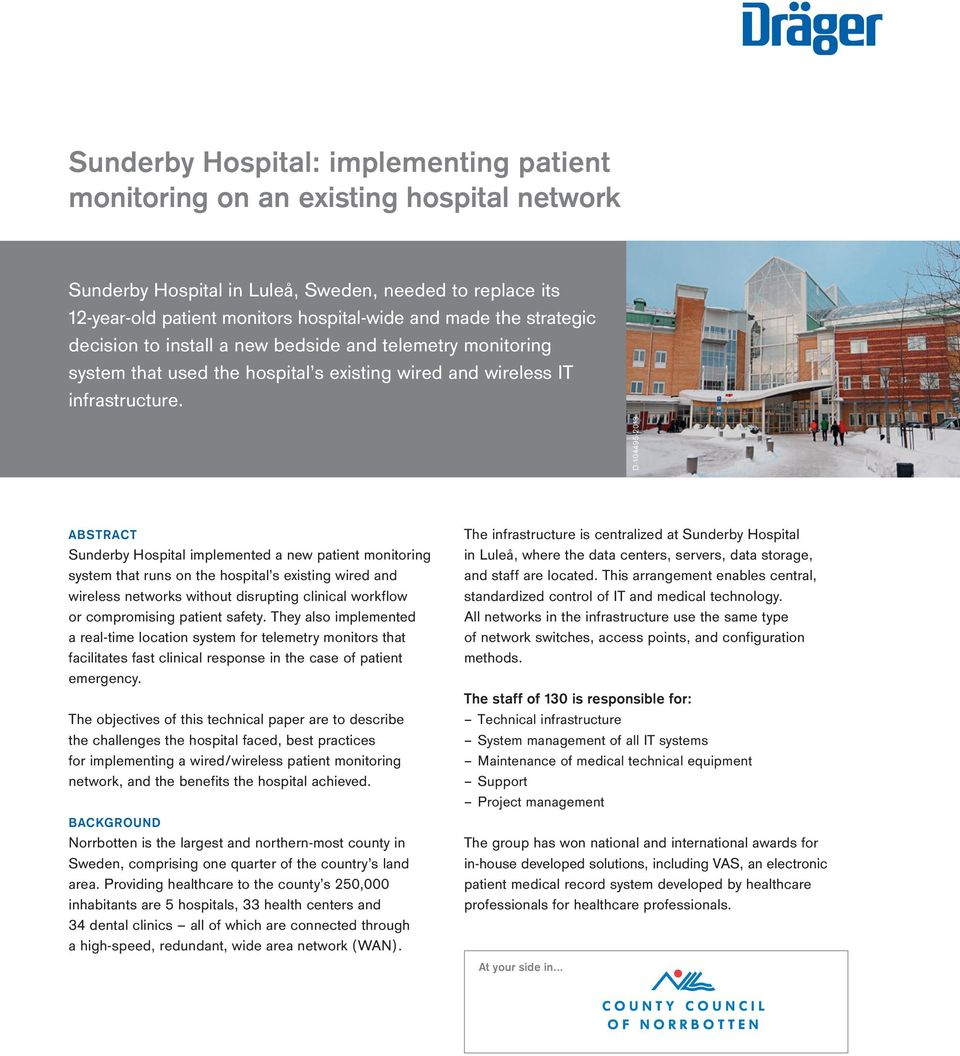 Sunderby Hospital: implementing patient monitoring on an existing ...