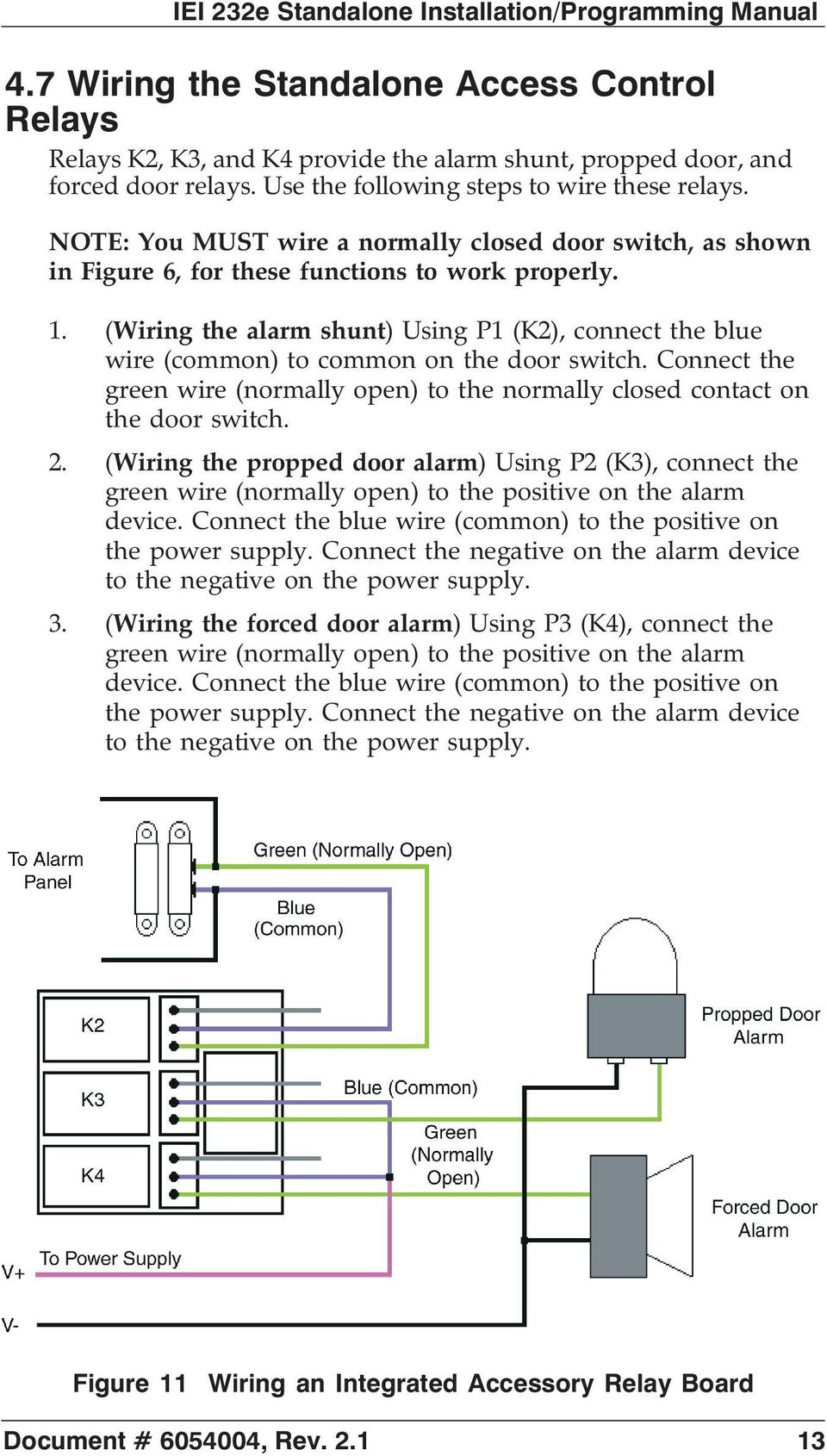 Control Relay Wiring Iei 232e Standalone Tm Keypad Installation Programming Manual Pdf The Alarm Shunt Using P1 K2 Connect Blue Wire