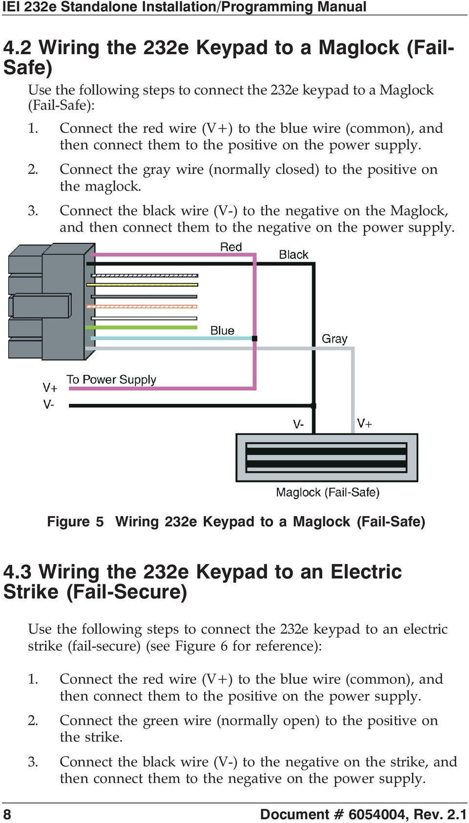 Wiring Diagram To Maglock Iei Keypad Libraries 212se 232e Standalone Tm Installation Programming Manual Pdfconnect The Black Wire V
