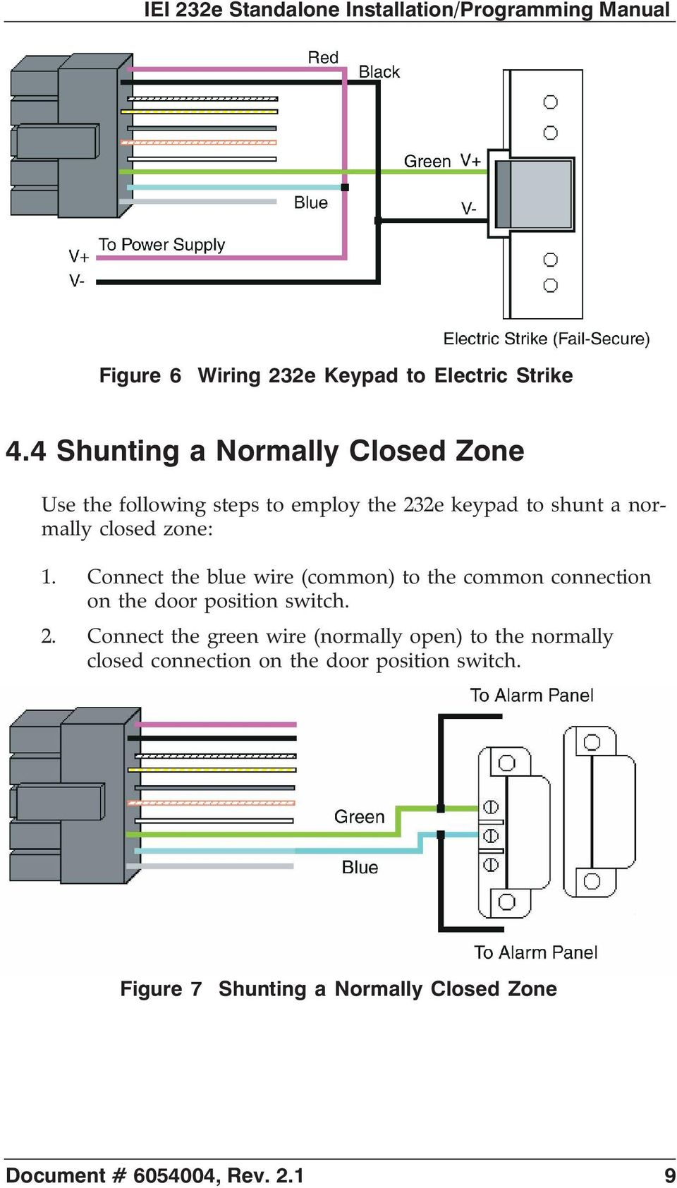 Iei 232e Standalone Tm Keypad Installation Programming Manual Pdf Four Digit Operated Switch 1 Connect The Blue Wire Common To Connection On Door