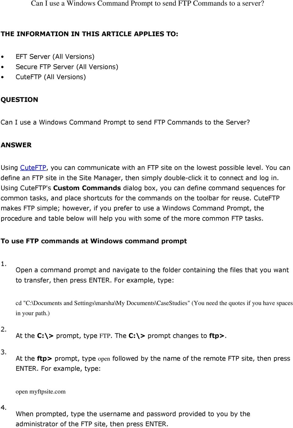 Can I use a Windows Command Prompt to send FTP Commands to a