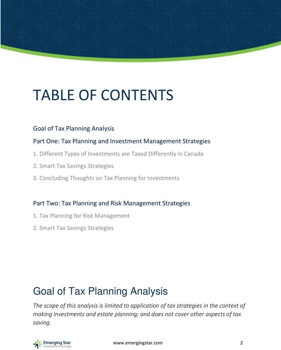 Concluding Thoughts on Tax Planning for Investments Part Two: Tax Planning and Risk Management Strategies 1. Tax Planning for Risk Management 2.