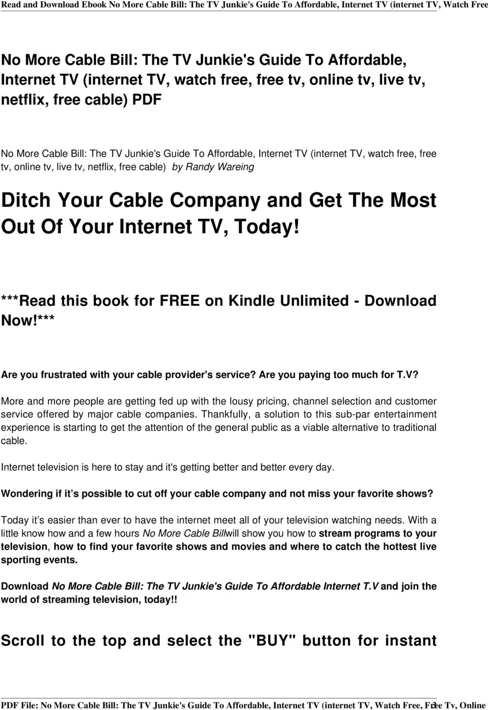 Read and Download Ebook No More Cable Bill: The TV Junkie's Guide To
