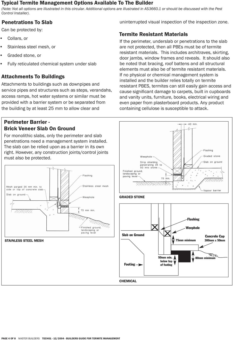 Builder S Guide For Termite Management Pdf Flasher Circuit Using Quotjunction Breakdownquot Penetrations To Slab Can Be Protected By Collars Or Stainless Steel Mesh