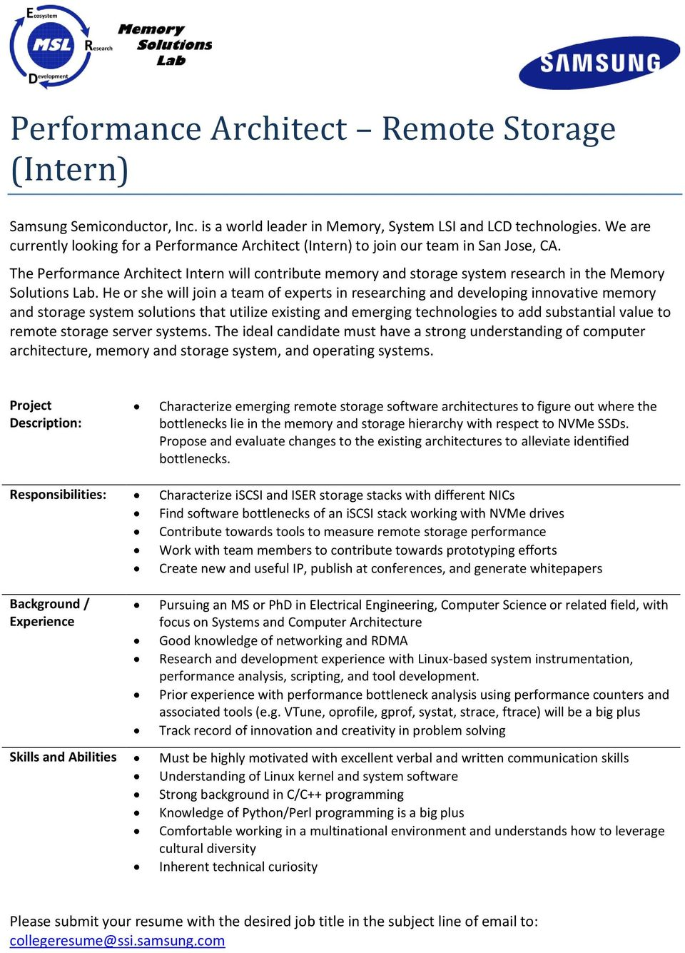 Performance Architect Remote Storage (Intern) - PDF