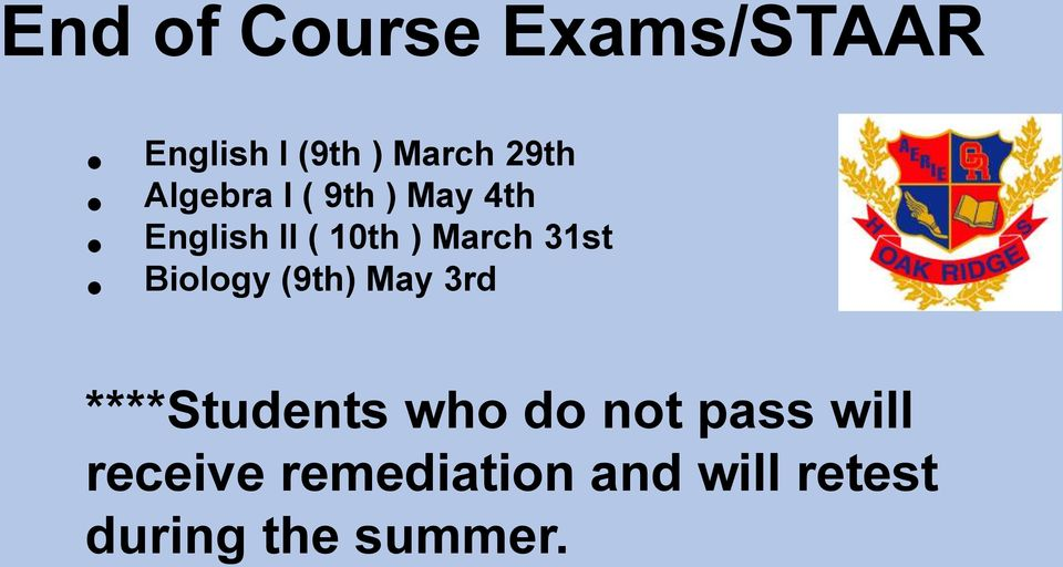 31st Biology (9th) May 3rd ****Students who do not pass